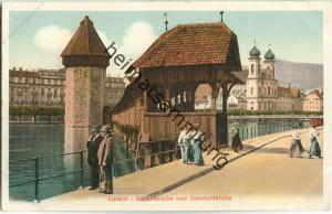 Luzern - Kapellbrücke und Jesuitenkirche ca. 1905