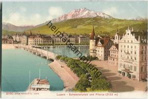 Luzern - Schwanenplatz mit Pilatus - Edition Photoglob Co. Zürich ca. 1905
