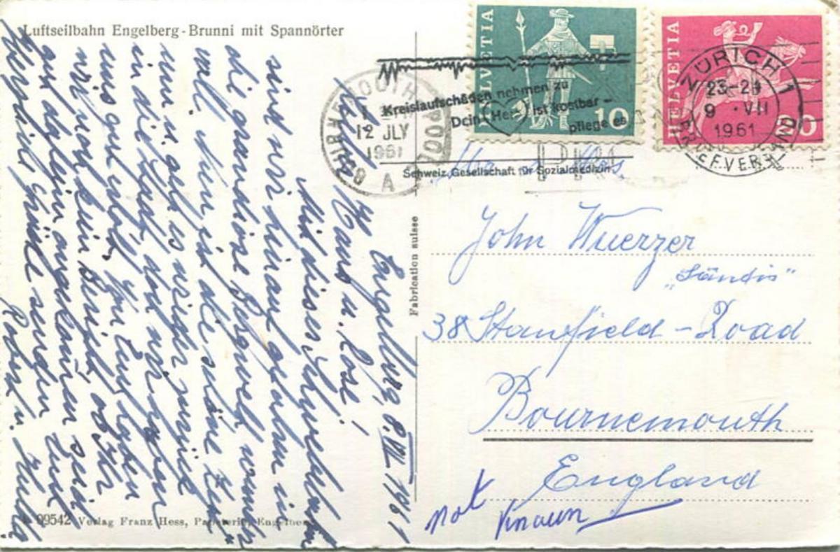 Luftseilbahn Engelberg-Brunni mit Spannörter - Foto-AK - Verlag Franz Hess Engelberg gel. 1961 1