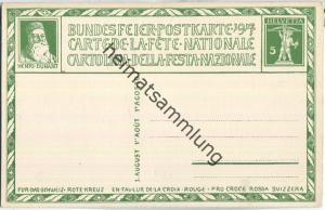 Bundesfeier-Postkarte 1917 - 5 Cts E. Burnand Helvetia - Zugunsten des Schweizerischen Roten Kreuzes
