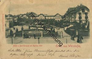 Wörishofen - Hotel und Bad Kreuzer mit Neubau 1900 - Verlag Maria Zimbelius Wörishofen - gel. 1901