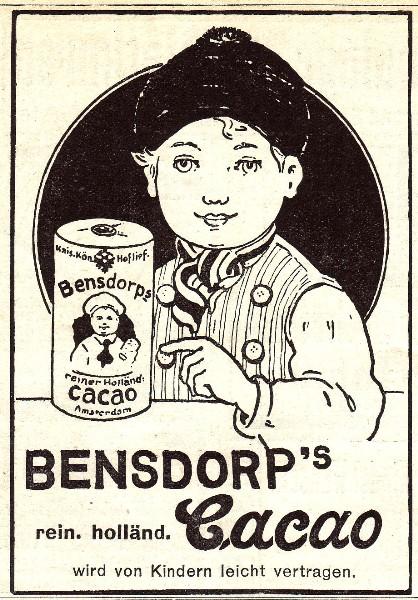 Original-Werbung/ Anzeige 1907 - BENSDORP''''S REINER HOLLÄNDISCHER CACAO - ca. 75 x 110 mm