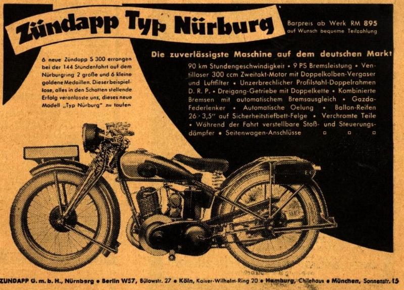 10 x Original-Werbung/ Anzeige 1930 bis 1961 - ZÜNDAPP MOTORRÄDER / MOPEDS - Größe unterschiedlich