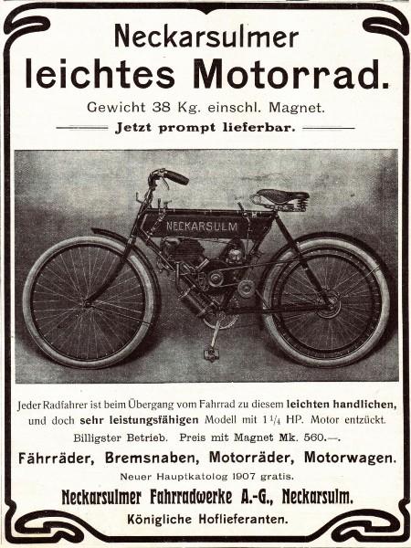 10 x Original-Werbung/ Anzeige 1902 bis 1941 - NSU MOTORRÄDER - NECKARSULM - Größe unterschiedlich