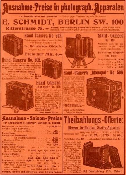 Original-Werbung/ ganzseitige Anzeige 1902 - CAMERAS / PHOTO-APPARATE /  SCHMIDT - BERLIN / RITTERSTRASSE - ca.180 x 260 mm