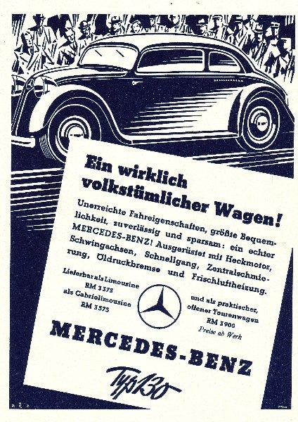 Original-Werbung/ ganzseitige Anzeige 1934 - MERCEDES - BENZ / TYP 130 - ca. 135 x 180 mm