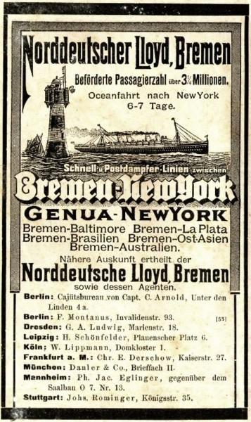 Original-Werbung/ Anzeige 1897 - NORDDEUTSCHER LLOYD BREMEN / BREMEN - NEW YORK - ca. 90 x 155 mm