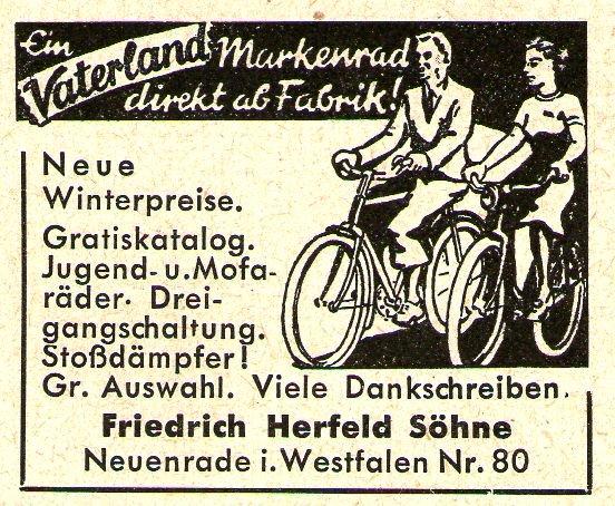 10 x Original-Werbung/ Anzeige 1935 bis 1965 - VATERLAND FAHRRÄDER / HERFELD - NEUENRADE - Größe unterschiedlich / BREITE MEIST 45 mm
