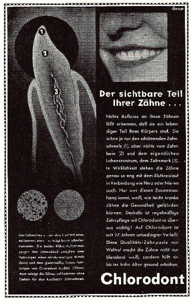 10 x Original-Werbung/ Anzeige 1932 bis 1939 - CHLORODONT ZAHNPASTA - MEIST 160 x 230 mm
