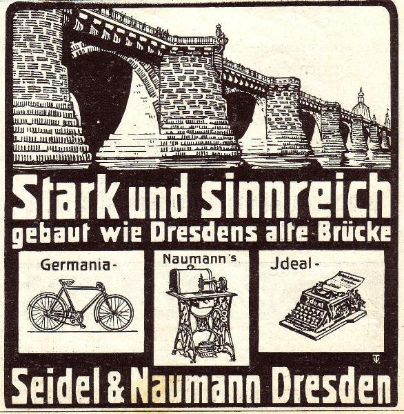10 x Original-Werbung/ Anzeige 1900 bis 1907 - NÄHMASCHINEN / FAHRRÄDER / SCHREIBMASCHINEN SEIDEL & NAUMANN - DRESDEN - je ca. 80 x 80 mm
