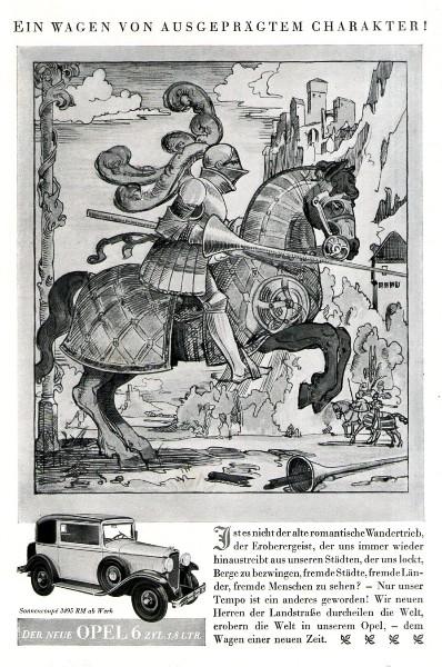 Original-Werbung/ ganzseitige Anzeige 1931 - OPEL 6-ZYLINDER - ca. 140 x 220 mm