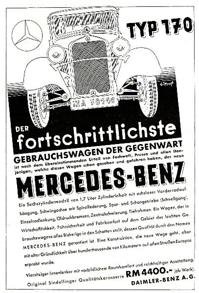 Original-Werbung/ ganzseitige Anzeige 1932 - MERCEDES - BENZ / TYP 170 - ca. 135 x 180 mm