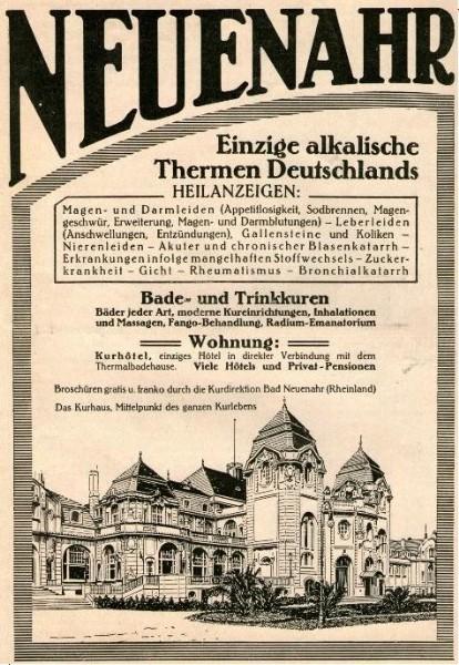 Original-Werbung/ ganzseitige Anzeige 1912 - BAD NEUENAHR -  ca 180 X 250 mm