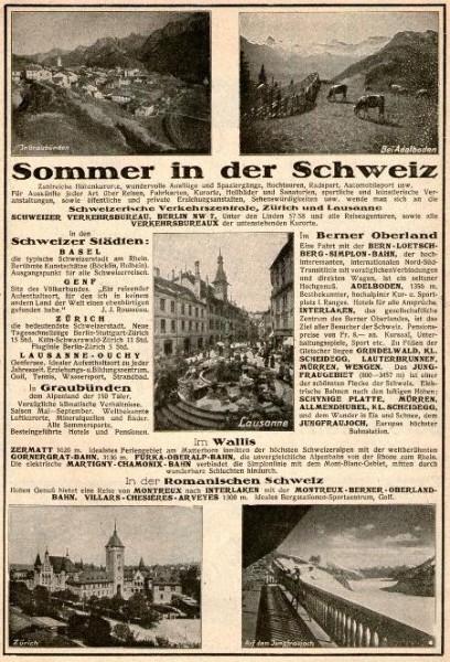 Original-Werbung/ ganzseitige Anzeige 1928 - SOMMER IN DER SCHWEIZ -  ca 180 X 250 mm