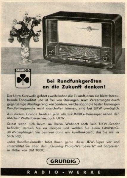 Original-Werbung/ ganzseitige Anzeige 1950 - GRUNDIG RADIO -  ca 130 X 220 mm