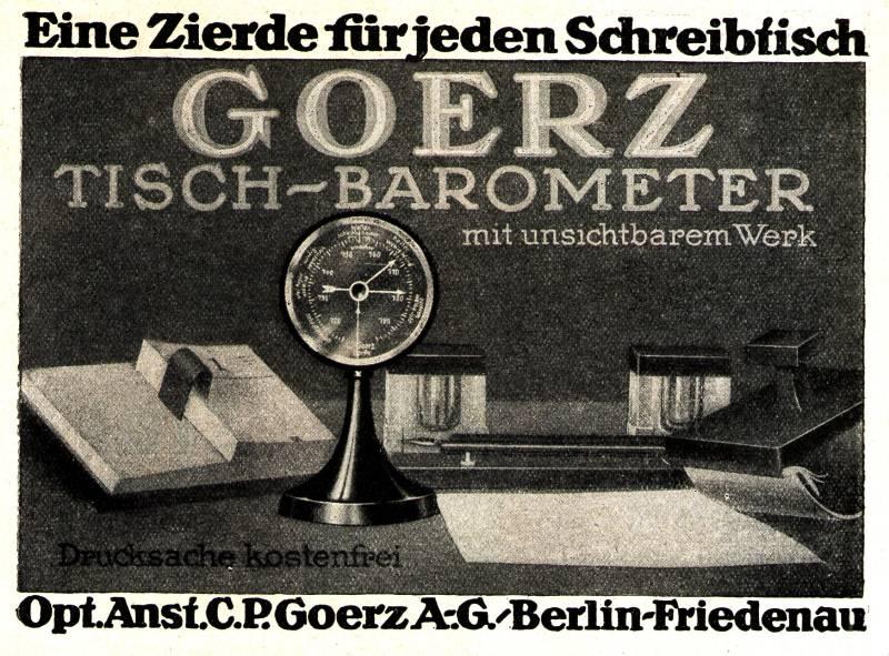 Original-Werbung/ Anzeige 1922 : GOERZ TISCH-BAROMETER /BERLIN - FRIEDENAU - ca. 140 x 110 mm