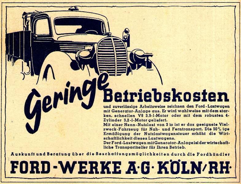 Original-Werbung/ Anzeige 1942 : FORD WERKE KÖLN - ca. 140 x 110 mm