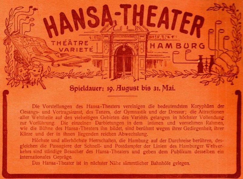 Original-Werbung/ Anzeige 1905 - HANSA THEATER HAMBURG - ca.180 x 130 mm