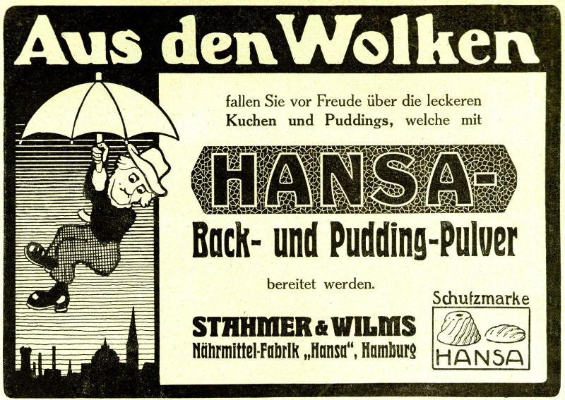 Original-Werbung/ Anzeige 1910 - HANSA BACK UND PUDDINGPULVER - ca.180 x 130 mm