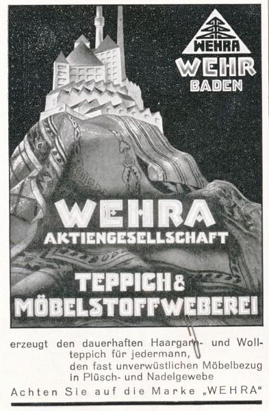 Original-Werbung/ Anzeige 1930 - WEHRA TEPPICHE - BADEN - ca. 65 x 110 mm