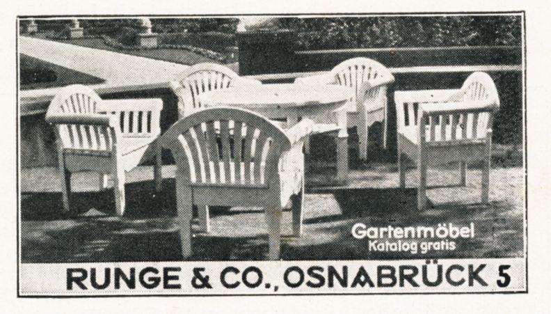 Original-Werbung/ Anzeige 1931 - RUNGE GARTENMÖBEL - OSNABRÜCK - ca. 60 x 35 mm
