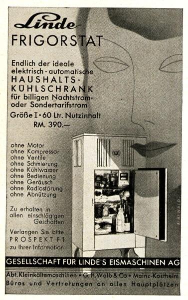 Original-Werbung/ Anzeige 1933 - LINDE FRIGORSTAT KÜHLSCHRANK - ca. 65 x 110 mm