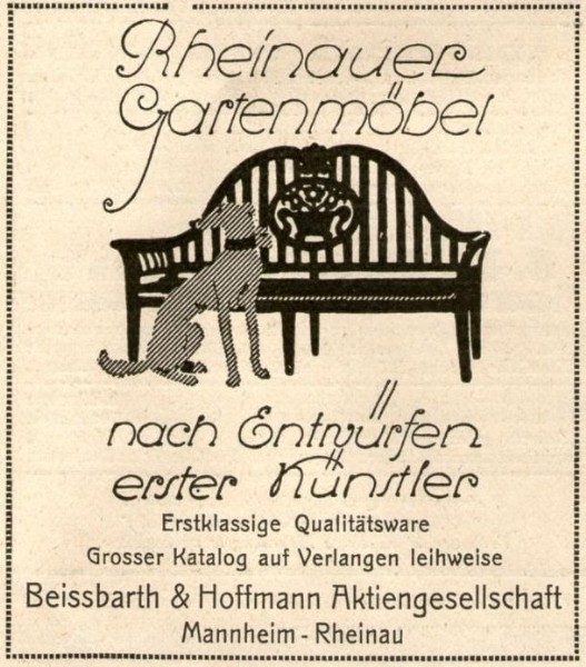 Original-Werbung/ Anzeige 1926 - RHEINAUER GARTENMÖBEL / BEISSBARTH & HOFFMANN RHEINAU - ca. 70 x 75 mm
