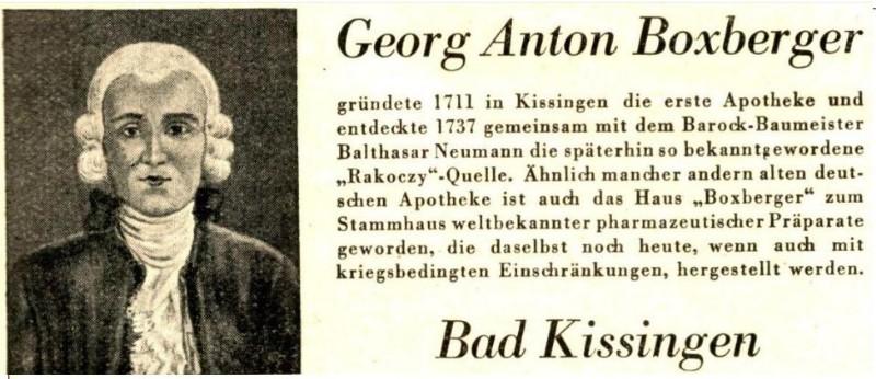 Original-Werbung/ Anzeige 1943 - GEORG ANTON BOXBERGER / BAD KISSINGEN - ca. 90 x 40 mm