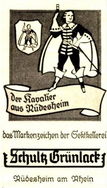 Original-Werbung/ Anzeige 1943 - SCHULTZ GRÜNLACK SEKT / RÜDESHEIM - ca. 45 x 75 mm