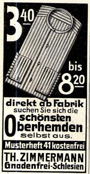 Original-Werbung/ Anzeige 1933 - OBERHEMDEN / ZIMMERMANN - GNADENFREI - ca. 35 x 65 mm