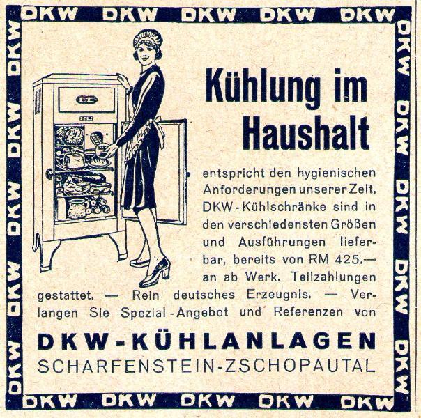 Original-Werbung/ Anzeige 1933 - DKW KÜHLSCHRÄNKE - SCHARFENSTEIN - ca. 65 x 65 mm