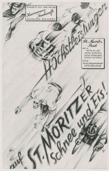 Original-Werbung/ Anzeige 1930 - SCHNEE UND EIS IN ST.MORITZ / MOTIV SPORT - ca. 140 x 220 mm 0