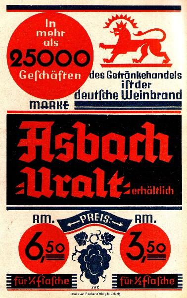 Original-Werbung/ Anzeige 1933 - ASBACH URALT - ca. 135 x 220 mm