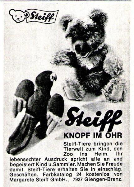 Original-Werbung/ Anzeige 1962 - STEIFF - KNOPF IM OHR / GIENGEN AN DER BRENZ - ca. 60 x 80 mm