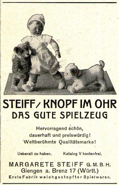 Original-Werbung/ Anzeige 1924 - STEIFF / KNOPF IM OHR / GIENGEN AN DER BRENZ - ca. 65 x 110 mm