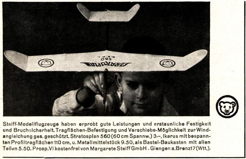 Original-Werbung/ Anzeige 1936 - STEIFF MODELLFLUGZEUGE / GIENGEN AN DER BRENZ - ca. 100 x 60 mm
