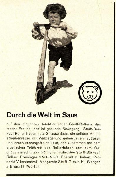 Original-Werbung/ Anzeige 1931 - STEIFF ROLLER - GIENGEN AN DER BRENZ - ca. 65 x 110 mm