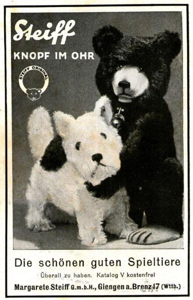 Original-Werbung/ Anzeige 1930 - STEIFF KNOPF IM OHR / GIENGEN AN DER BRENZ - ca. 65 x 110 mm