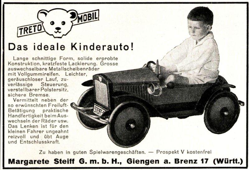 Original-Werbung/ Anzeige 1928 - STEIFF / KNOPF IM OHR / KINDERAUTO TRETO-MOBIL / GIENGEN AN DER BRENZ - ca. 100 x 65 mm