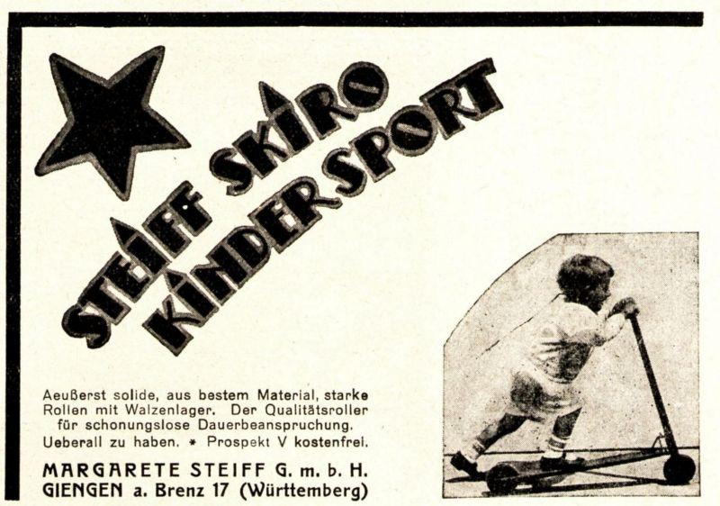 Original-Werbung/ Anzeige 1925 - STEIFF SKIRO KINDER SPORT - ROLLER / GIENGEN AN DER BRENZ - ca. 100 x 75 mm