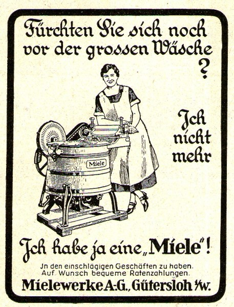original werbung anzeige 1927 miele waschmaschine ca 65 x 75 mm oldthing alte anzeiegn. Black Bedroom Furniture Sets. Home Design Ideas