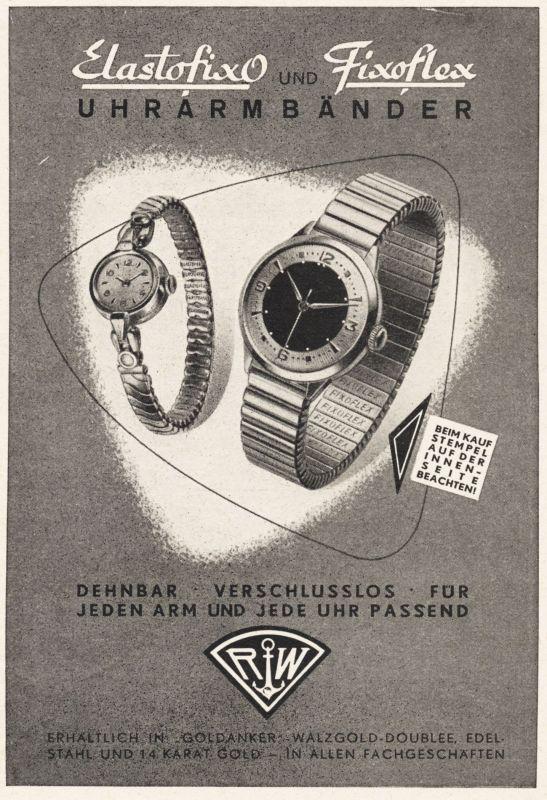 Original-Werbung / Anzeige 1959 - ELASTOFIXO / FIXOFLEX RW ANKER UHRARMBÄNDER - ca. 110 x 155 mm