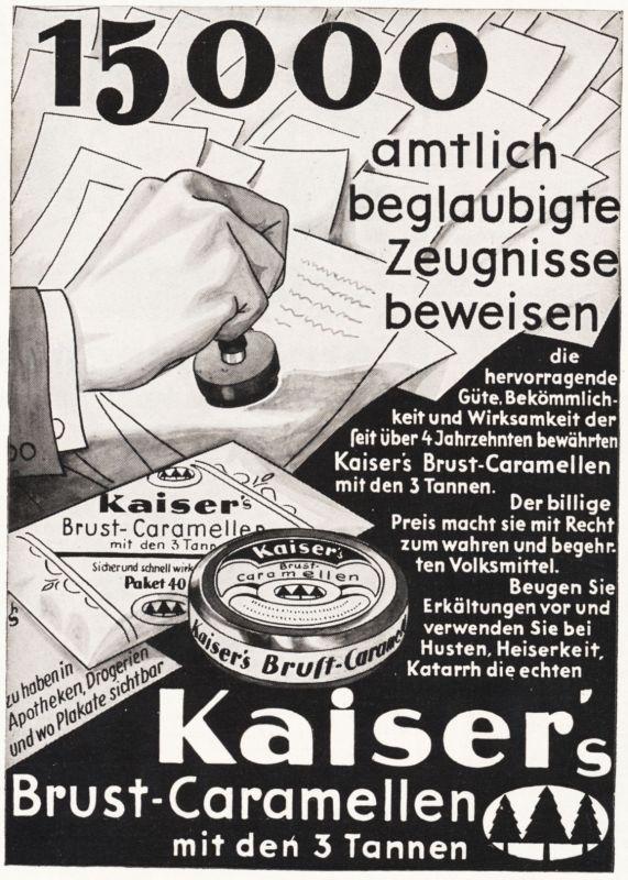 Original-Werbung/ Anzeige 1932 - KAISER\'S BRUST-CARAMELLEN - ca. 90 x 130 mm