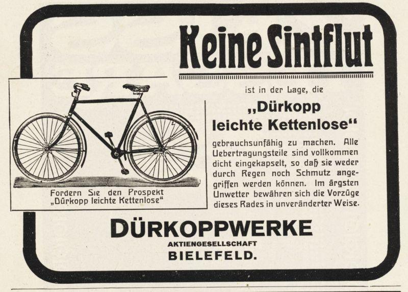 Original-Werbung/ Anzeige 1914 - DÜRKOPP / KETTENLOSES FAHRRAD / DÜRKOPPWERKE - BIELEFELD - ca. 140 x 100 mm