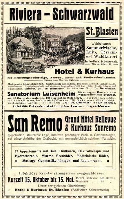 Original-Werbung/ Anzeige 1913 - RIVIERA / SCHWARZWALD - SAN REMO / ST.BLASIEN - ca. 120 x 180 mm