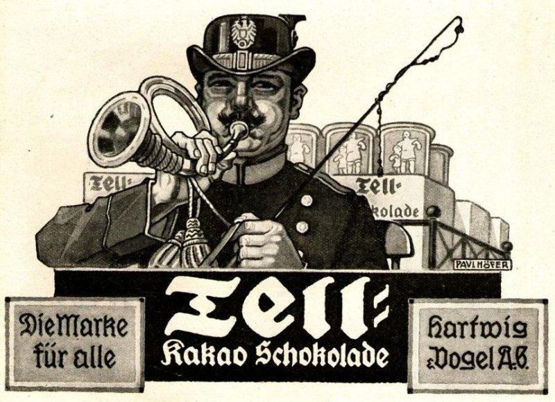 10 x Original-Werbung/ Anzeige 1909 bis 1924 - TELL SCHOKOLADE / KAKAO - UNTERSCHIEDLICHE GRÖSSEN