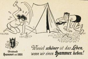 10 x Original-Werbung/ Anzeige 1955 bis 1956 - HAMMER WEINBRAND (CARTOON) - Größe unterschiedlich