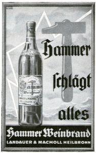 10 x Original-Werbung/ Anzeige 1928 bis 1969 - HAMMER BRENNEREI - HEILBRONN - Größe unterschiedlich