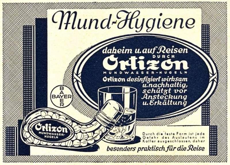 10 x Original-Werbung/ Anzeige 1928 bis 1930 - ORTIZON MUNDWASSER-KUGELN / BAYER LEVERKUSEN - Größe unterschiedlich
