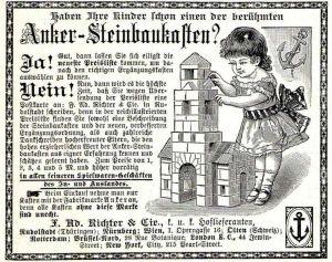 10 x Original-Werbung/ Anzeige 1897 bis 1914 - RICHTER''''S ANKER - STEINBAUKASTEN / RUDOLSTADT / VERSCHIEDENE GRÖSSEN